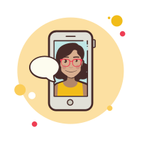 Girl With Glasses Messaging icon