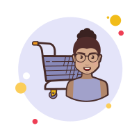 Girl With Glasses Shopping Cart icon