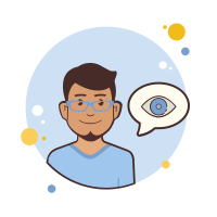 Man in Blue Glasses Eye icon