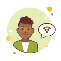 Man in Yellow Glasses Wi-Fi icon