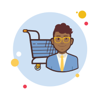 Man With Glasses Shopping Cart icon