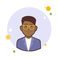 Man With Yellow Glasses in Violet Jacket icon