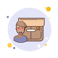 Short Hair Girl With Glasses Product Box icon
