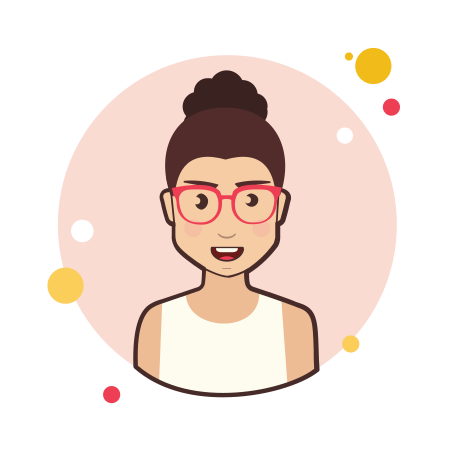 Brown Curly Hair Lady With Red Glasses icon