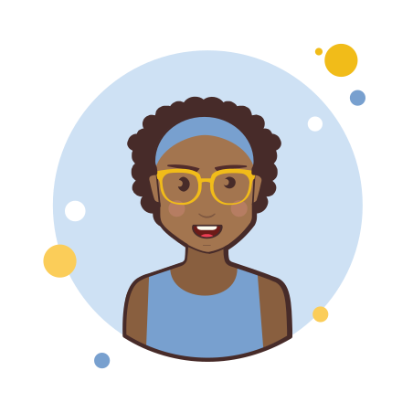 Brown Curly Hair Lady With Yellow Glasses icon