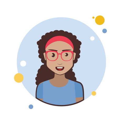 Brown Long Curly Hair Lady With Red Glasses icon
