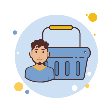 Man Blue Shopping Basket icon