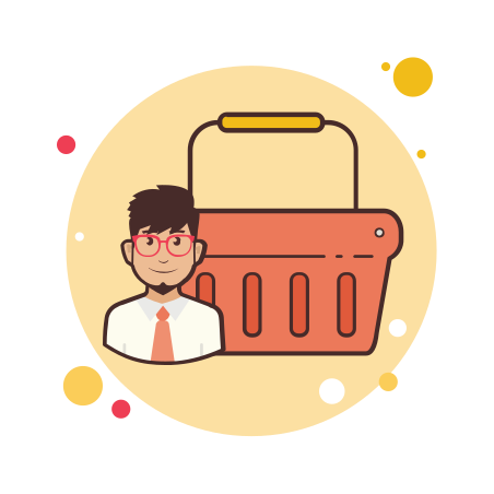 Man Orange Shopping Basket icon