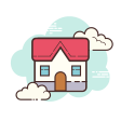 clouds cottage icon