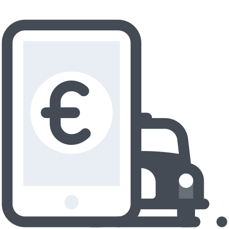 Taxi Mobile Payment Euro icon