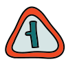 Road Left Turn Sign icon