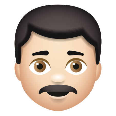 Man With Mustache Light Skin Tone icon
