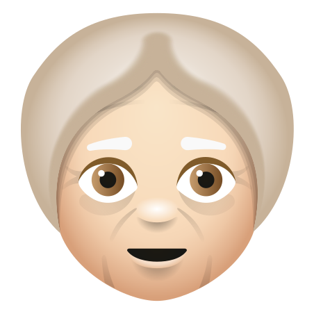 Old Woman Light Skin Tone icon