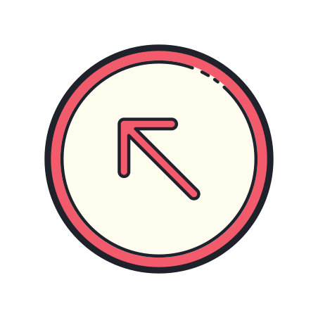 Circled arrow pointing up and left icon